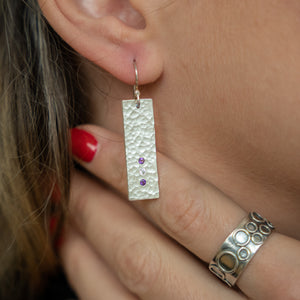Hammered Silver Rectangle Earrings with Amethyst and Cubic Zirconia stones