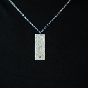 Hammered Silver Rectangle Pendant with Amethyst