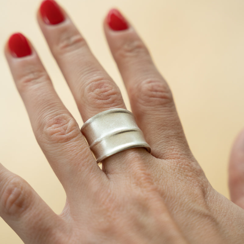 Contour Wrap Ring Matt Finish  - Size UK T- US 9 3/4
