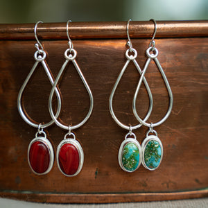 Teardrop Gem Hoop Earrings - Rosarita (red)