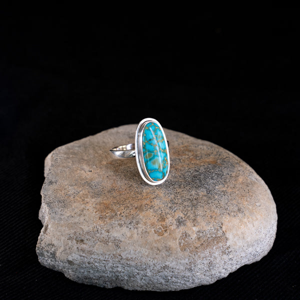 Turquoise Mountain Long Oval Silver Ring  - Uk Size  Q  - US 8 1/4