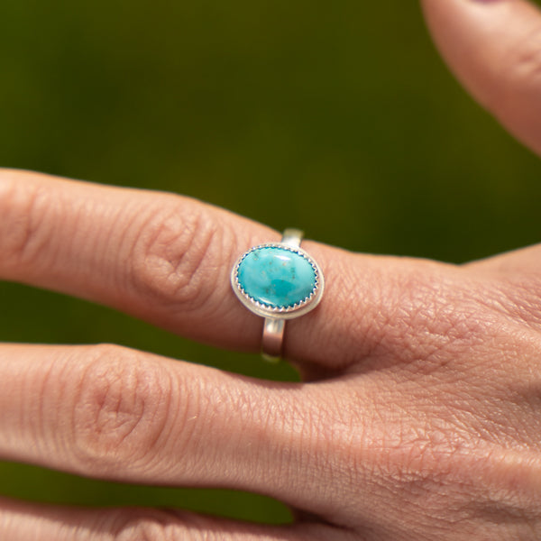 Candelaria Turquoise  Natural Ring  - Size UK P - US 7 3/4