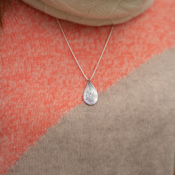 Sterling Silver Textured Teardrop Pendant