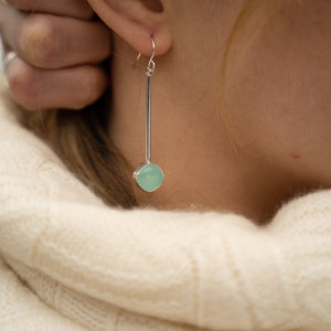 Swinging Gem Earrings - Seafoam Chalcedony