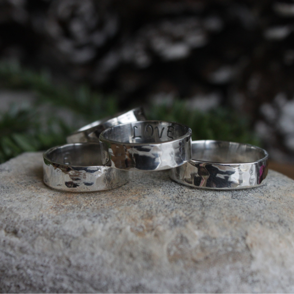 Silver Hammered 'Message' Rings, (Family, Love, Grateful, Believe)