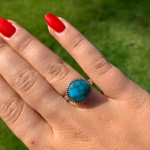 Dark Blue Turquoise Mountain Natural Ring  - Size UK M - US 6 1/2