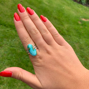 Sonoran Gold Blue Turquoise Ring on Double Band - Uk Size  P  - US 7 1/2