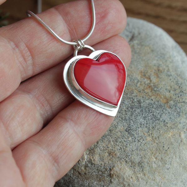 "Red Rosarita Heart  Pendant on 18"" Snake Chain"