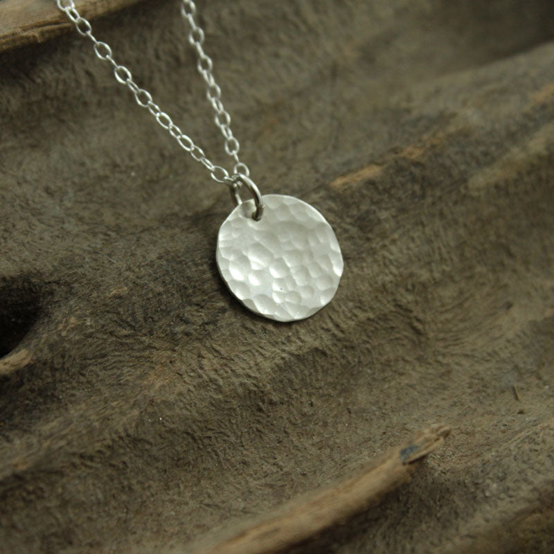 Small Silver Hammered Disc Pendant on Delicate 18 Inch Trace Chain