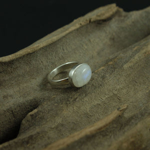 Rainbow Moonstone Oval Ring Set Sideways In A Plain Sterling Silver Setting - UK Size P 1/2 ish, US Size 7 3/4 ish