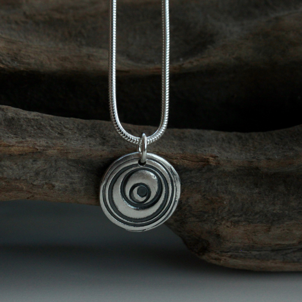 "Silver Swirl Charm Pendant on an 18"" Snake Chain"