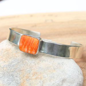 Orange Spiny Oyster Shell and Silver Cuff  Size med-large
