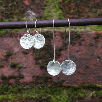 Long Or Short Hammered Disc Earrings, Sterling Silver