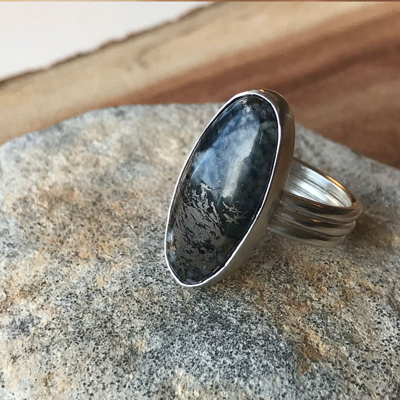 Native Silver Oval on Triple Band Sterling Silver Ring  - Uk Size  Q 1/2  - US 8 1/4