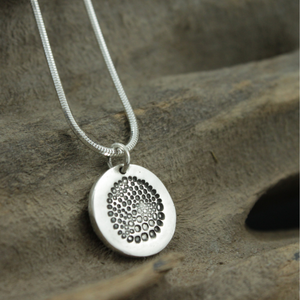 "Silver Circle Charm Pendant with Bauble Textured on an 18""  Snake Chain"