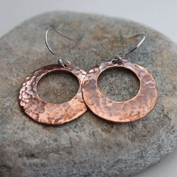 Hammered Copper Hoop Earrings with Sterling Silver Earwires