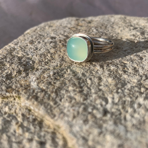 Sea foam (mint green) Chalcedony on a Sterling Silver Double Band Ring- Uk Size  N  - US 7