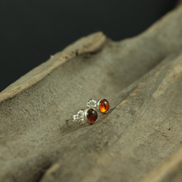 Amber and Sterling Silver Stud Earrings 5mm