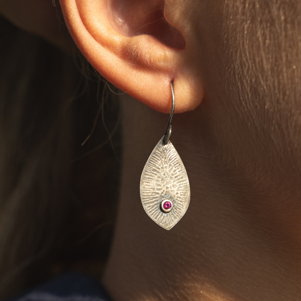 Antique Silver Teardrop Earrings with 2mm Ruby