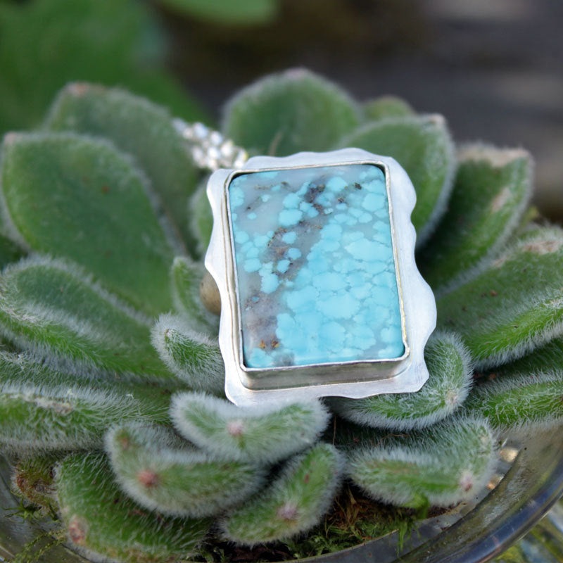 "Natural Kingman Turquoise and Sterling Silver Abstract Pendant on 24"" Sterling Silver Chain"