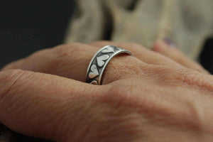 Sterling Silver Antiqued Textured Heart Ring