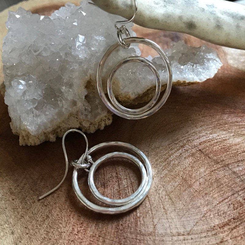 sterling silver double hoops