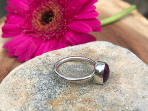 Natural  Purple Sugilite mid sized Oval Stacking ring on thin Silver Band - Size UK P, US 7 1/2