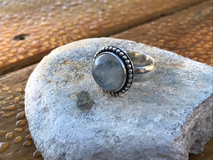 Rainbow Moonstone Round Ring with Sterling Silver Beaded Surround, UK N 1/2 - US 6 3/4
