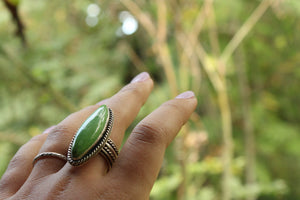 Grasshopper Green Turquoise Silver Statement Ring, - Size UK Q, US 8