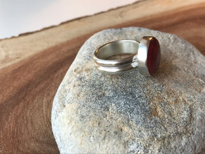 Rosarita Red Round Ring on a Chunky Double Silver Band - Uk Size  P 1/2  - US 7 3/4