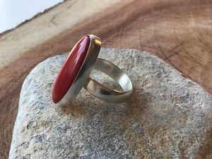 Rosarita Red Oval and Silver Statement Ring - Uk Size  Q 1/2  - US 8 1/4