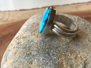 Turquoise Mountain  Oval Statement Ring on a Chunky Silver Double Band  - Uk Size  Q  - US 8