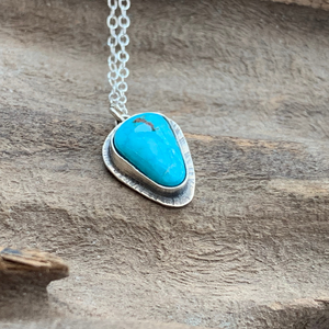 "Kingman Natural Turquoise Triangle Pendant with a Textured edge on 18"" Dainty Chain"
