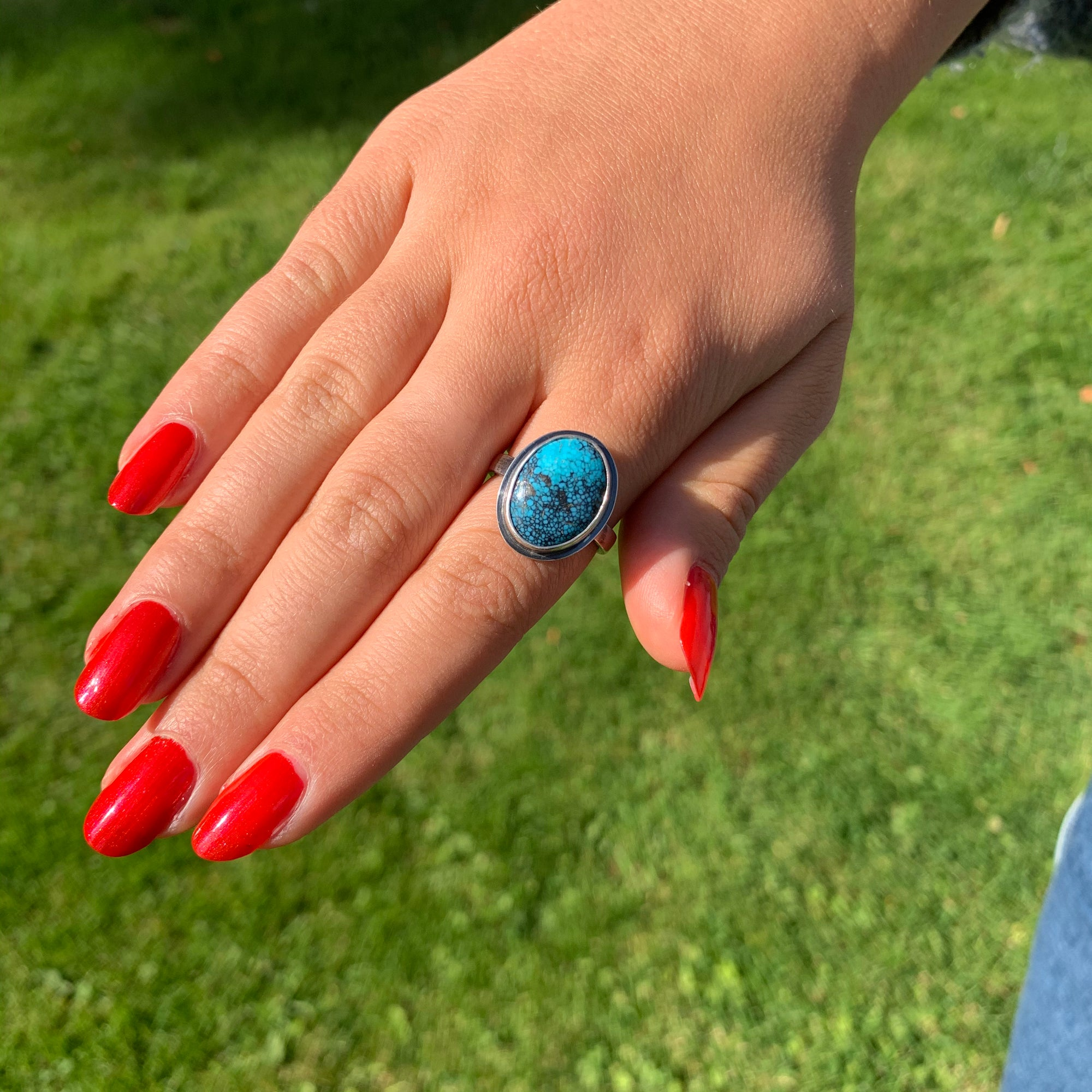Glowing Blue Black Silver Ring - Size UK P - US 7 3/4