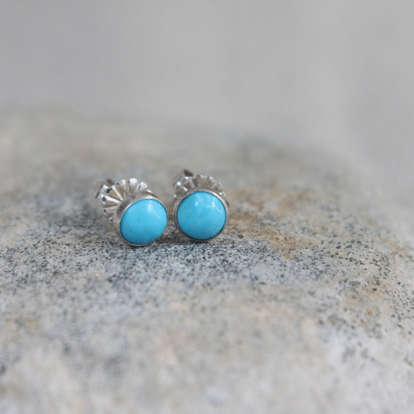 Sleeping Beauty Turquoise Stud Earrings, 5mm with sterling silver post
