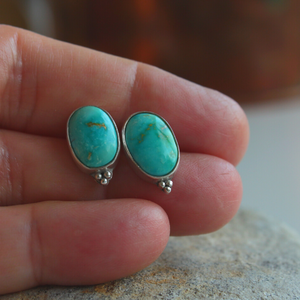 Turquoise Mountain Silver Stud earrings with Three Granules