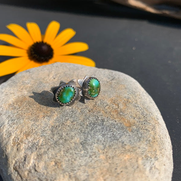 Sonoran Gold Turquoise Burst Stud Earrings with Antique Finish