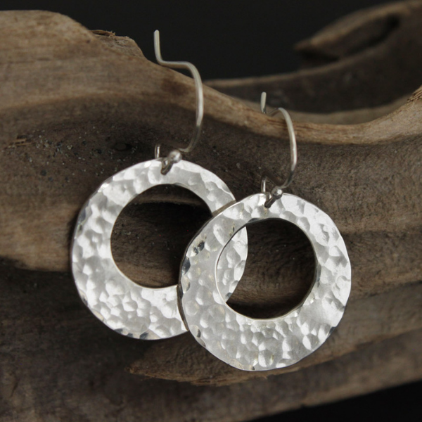 Funky Hammered Silver Hoop Earrings