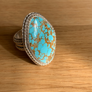 Natural 'No 8' Turquoise SuperRing, Size UK R 1/2, US 9
