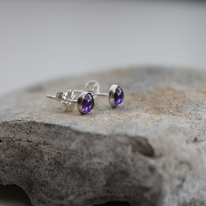 Purple Cubic Zirconia (5mm) Stud Earrings  with Sterling Silver Back and Post