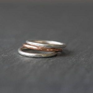 Sterling Silver and Copper Hammered Stacking Rings, Made to Order
