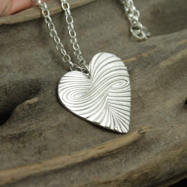 "Solid Silver Heart Swirl Pendant on a 30"" Sterling Silver Belcher chain"