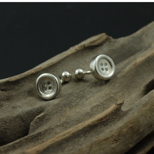 Mens Solid Sterling Silver Button Cufflinks