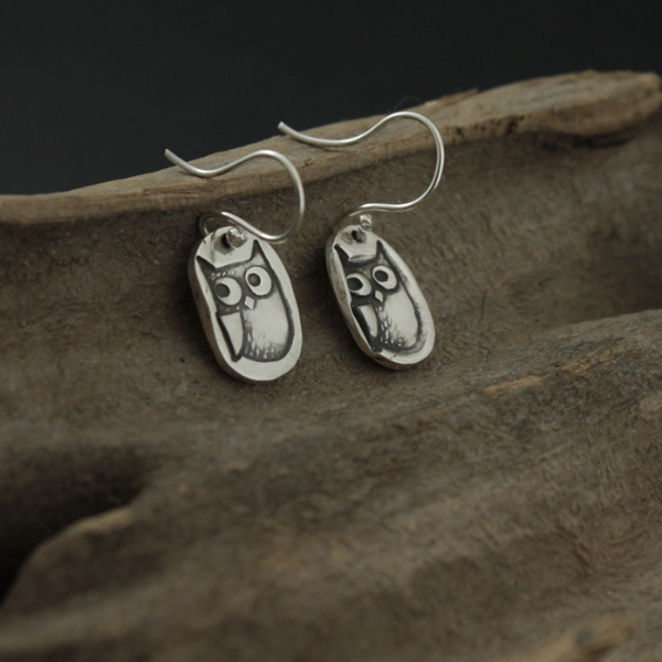 Sterling Silver Owl Dangle Earrings