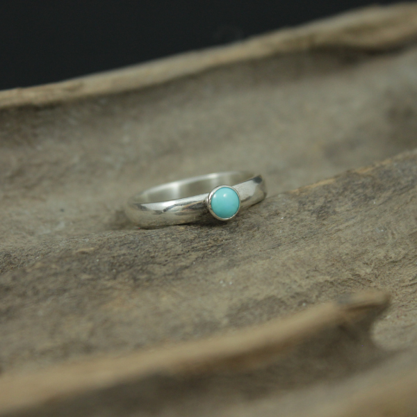 Turquoise Spot (4mm) on  Thin Sterling Silver Ring Band, Made to order