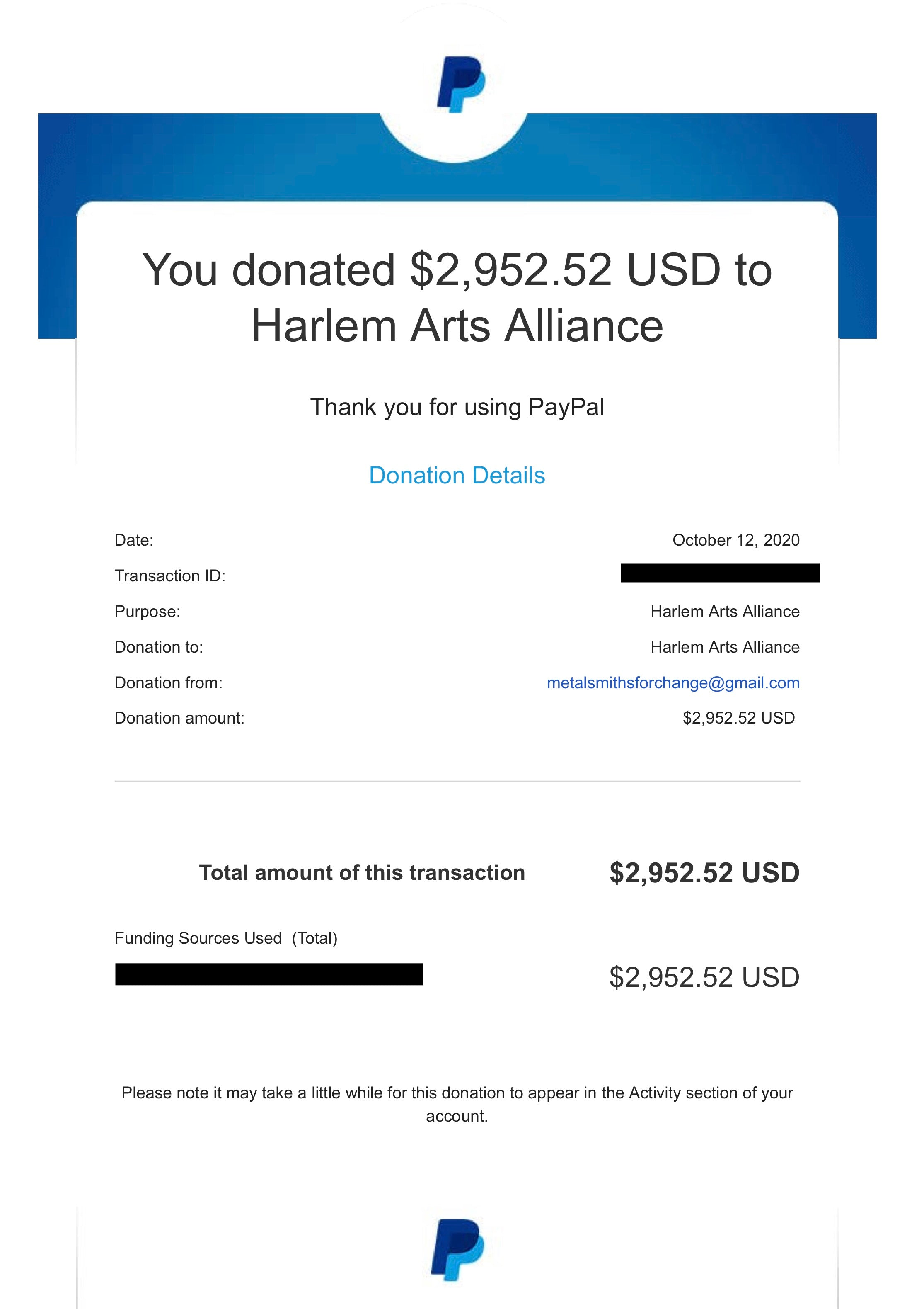 The Big 6 (Sept 23 - 26) Harlem Arts Alliance Donation