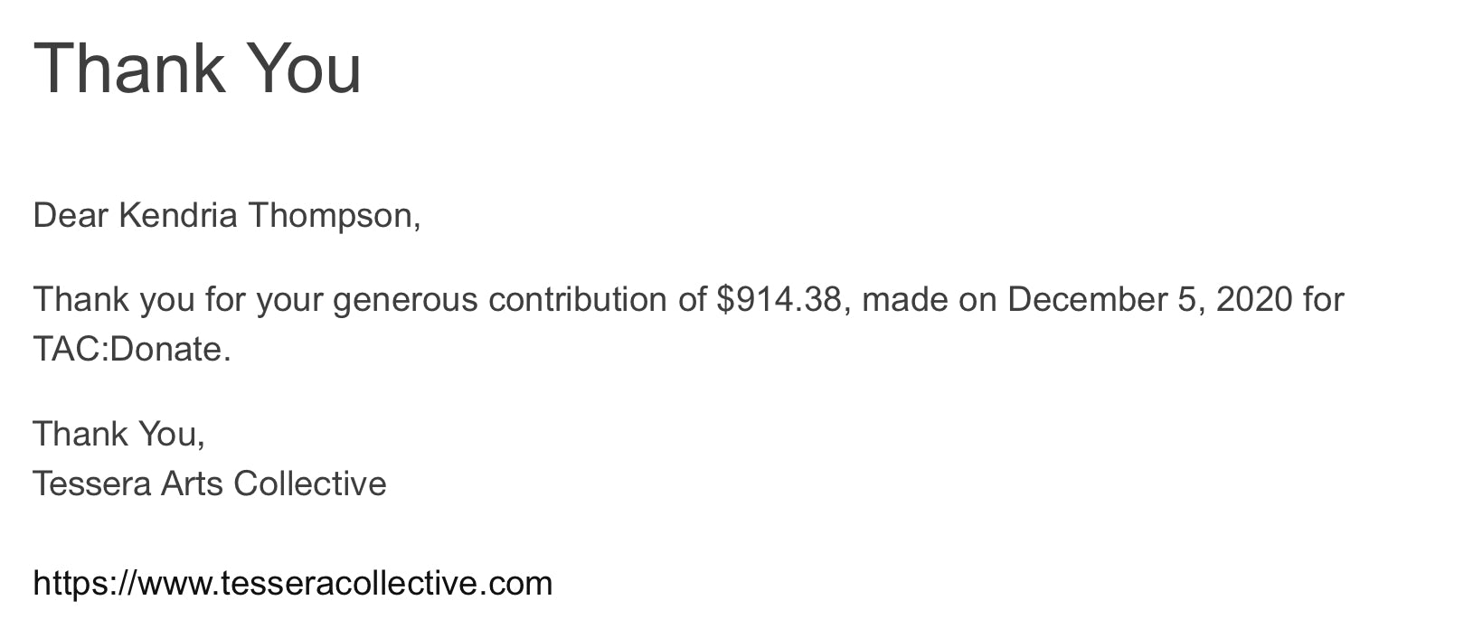 Tessera Arts Collective Donation receipt