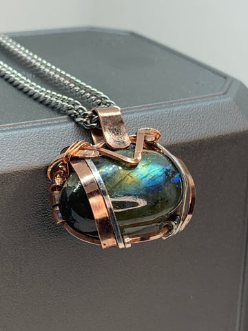 Hand Forged Labradorite, Copper and Silver Pendant