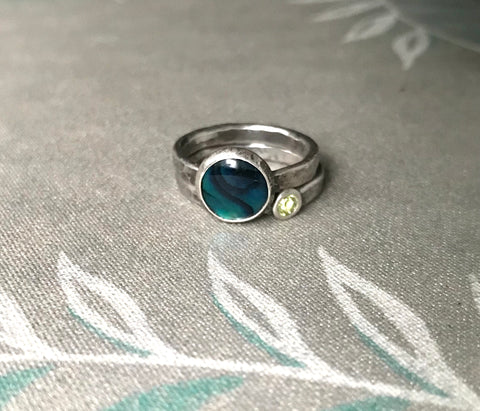 Ocean and Peridot Ring Set