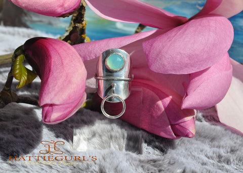 Faceted Aqua Chalcedony Halo Statement Ring
